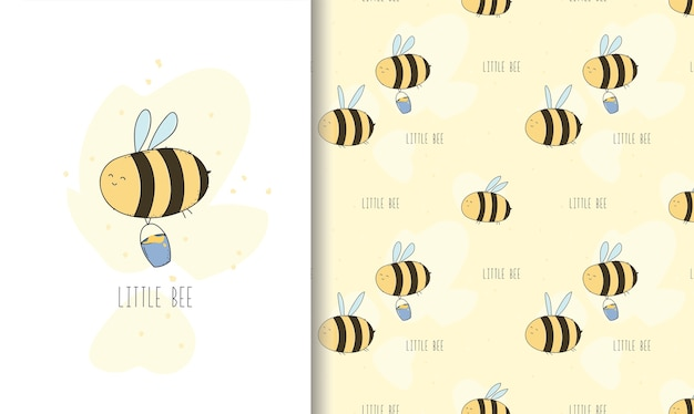 Cute little bee greeting card and seamless pattern.