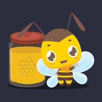 Cute little bee standing next to a jar of honey