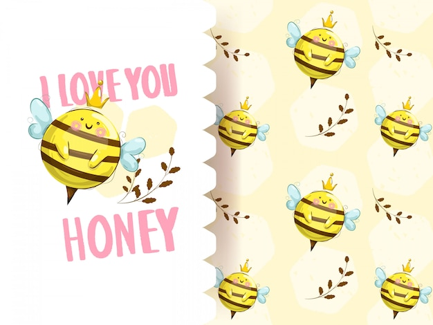 Cute little bee with seamless pattern