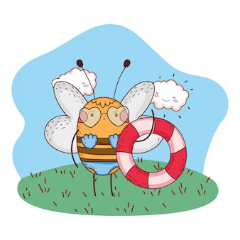 Cute little bee with swimsuit and float in the camp