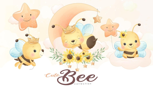 Cute little bee with watercolor illustration set