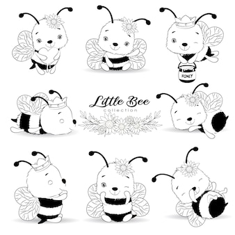 Cute little bees poses with outline collection