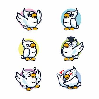 Cute little bird cartoon mascot set bundle