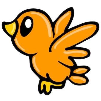 귀여운 작은 새가 날고 있습니다. 만화 그림 스티커 마스코트 이모티콘