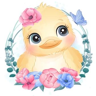花とかわいい鳥の肖像画