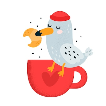 Cute little bird seagull with croissant and coffee