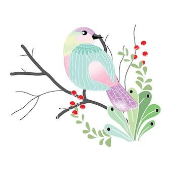 明るい羽のかわいい小さな鳥が枝に立っています
