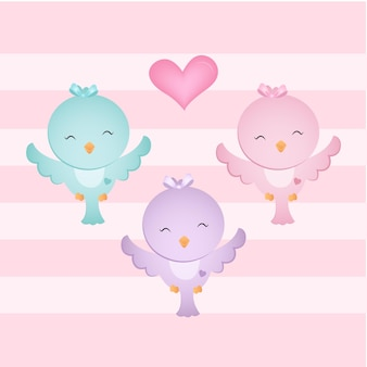Cute little birds illustration