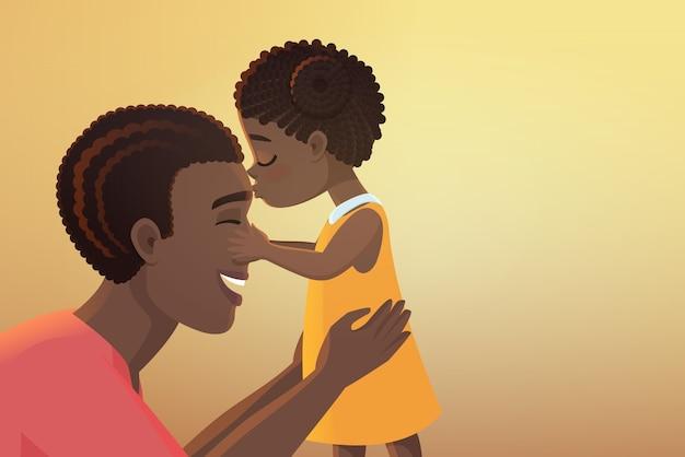 かわいい小さな黒いアフリカ系アメリカ人の娘の女の子の子供は彼女の幸せな父にキスします