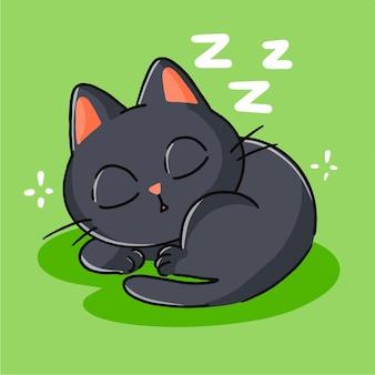 귀여운 작은 검은 고양이 잠자는 마스코트 낙서 일러스트 자산