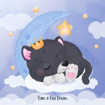 Cute little black phanter sleeping illustration