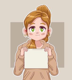かわいい小さなブロンドの女の子コミックマンガキャラクターリフティング抗議ラベルイラスト