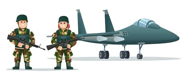 군용 제트기 삽화로 무기 총을 들고 있는 귀여운 소년과 소녀 군대 병사들