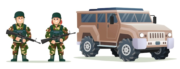 군용 차량 일러스트와 함께 무기 총을 들고 귀여운 소년과 소녀 군대 군인