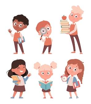 Милый маленький мальчик и девочка набор из шести поз обратно в школу концепции