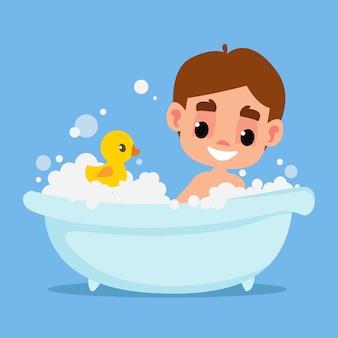 귀여운 소년은 많은 거품과 고무 노란색 오리 벡터 일러스트레이션에서 욕조에서 목욕합니다.