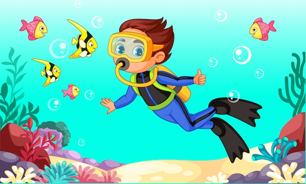 Cute little boy diver