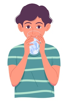 Cute little boy drinking water from glass on white background.