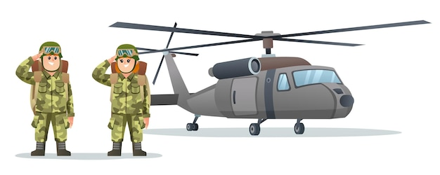 Cute little boy and girl army soldier carrying backpack characters with military helicopter cartoon