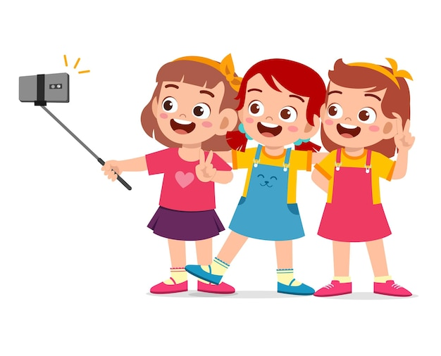Cute little boy and girl take selfie together illustration