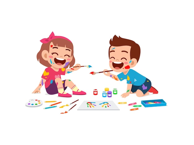 Cute little boy and girl using paint to hand for art