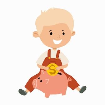 Милый маленький мальчик собирается положить монетку в копилку. ребенок экономит деньги концепции. нарисованная рукой плоская векторная иллюстрация.