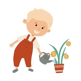 귀여운 꼬마가 돈나무에 물을 주고 있습니다. 아이는 돈 개념을 저장합니다. 손으로 그린 평면 벡터 일러스트 레이 션.