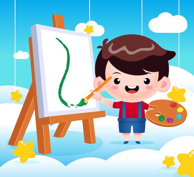 Милый маленький мальчик, рисующий на облаке