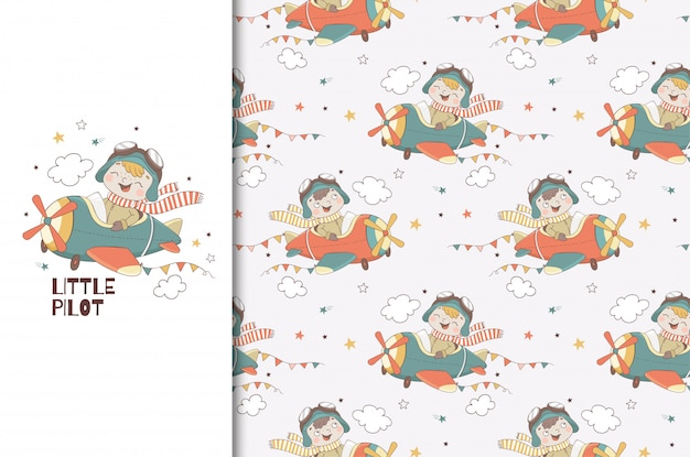 Cute little boy pilot character. kids card print template and seamless   pattern. hand drawn   design   illustration.