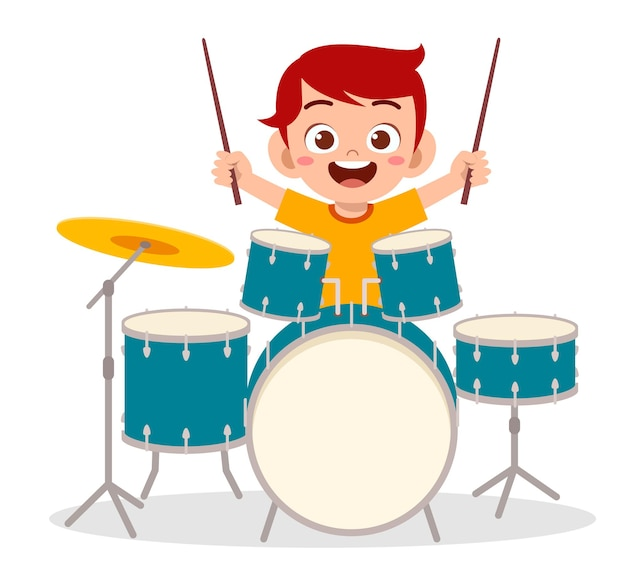 かわいい男の子がコンサートでドラムを演奏します