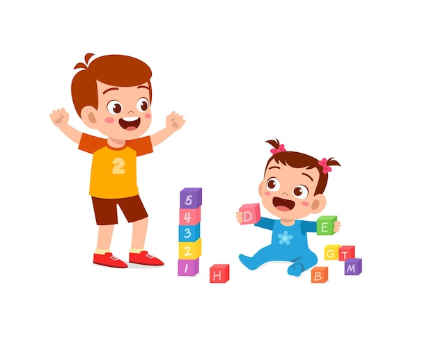 かわいい男の子は一緒に赤ちゃんの兄弟と遊ぶ
