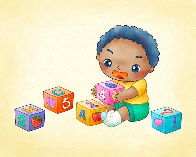 Милый маленький мальчик играет в строительные блоки в линейном искусстве