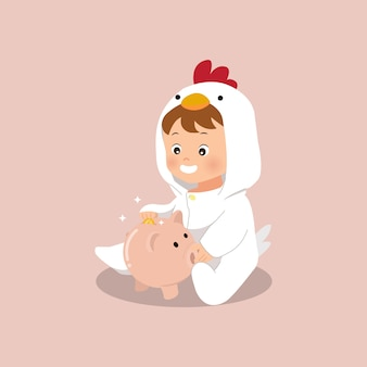 Cute little boy saving a coin to a piggy bank illustration. saving money since little. flat style vector.