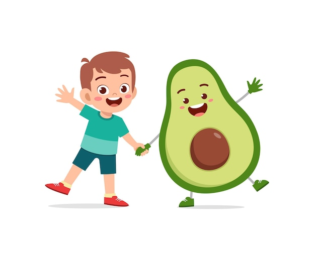 Cute little boy stands with avocado character