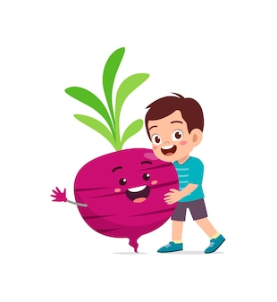 Cute little boy stands with bit root character