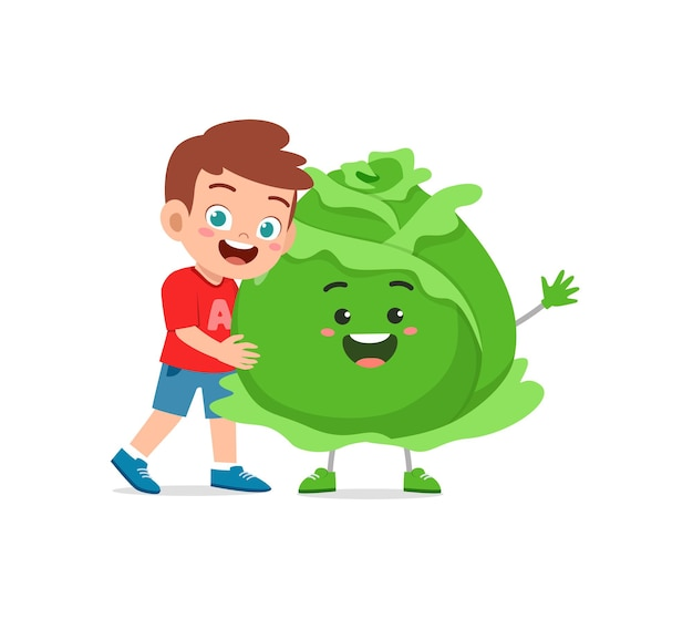 Cute little boy stands with cabbage character