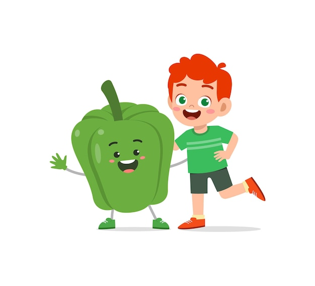 Cute little boy stands with paprika character
