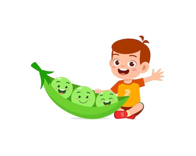 Cute little boy stands with pea character