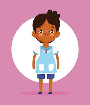 Cute little boy student school uniform cartoon character vector illustration
