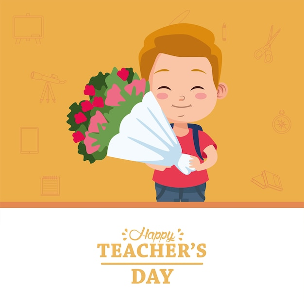 Милый маленький мальчик-студент с букетом цветов и надписью счастливый день учителя