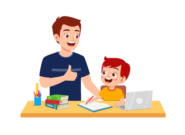 Cute little boy study with father at home together