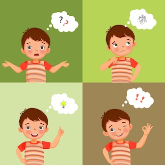 Cute little boy thinking proses from confused searching for ideas to finding solution