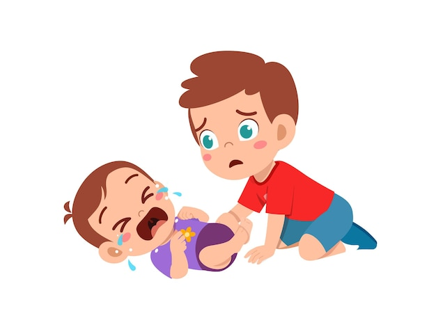 Cute little boy try to comfort crying baby brother