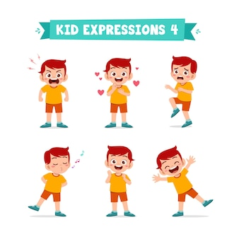 Cute little boy in various expressions and gesture set