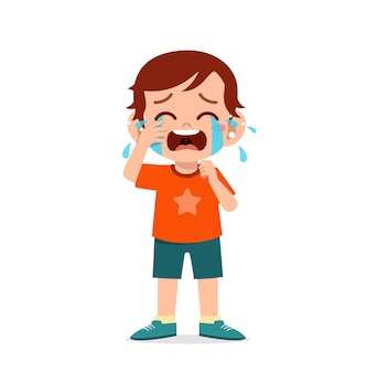 Cute little boy with crying and tantrum expression Premium Vector