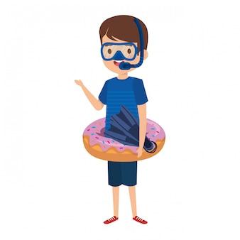 도넛 플 로트와 스노 클 귀여운 소년