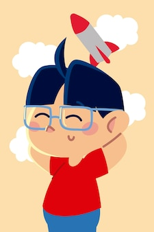 Cute little boy with glasses and rocket toy cartoon, children  illustration