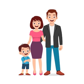 Cute little boy with mom and dad together