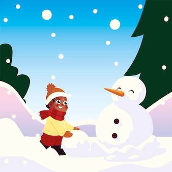 Cute little boy with snowball making snowman in winter scene vector illustration