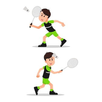 Cute little boy with some poses playing badminton